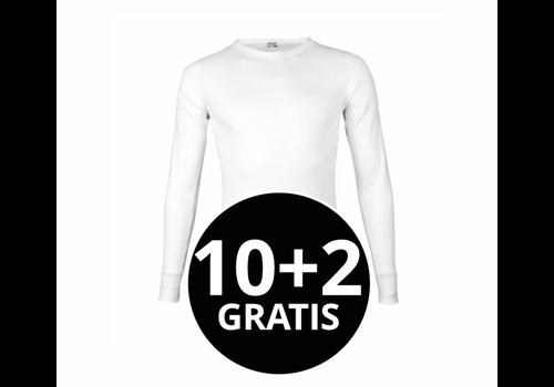 Beeren Heren T-Shirt Lange Mouw M3000 Wit Mega voordeelpack