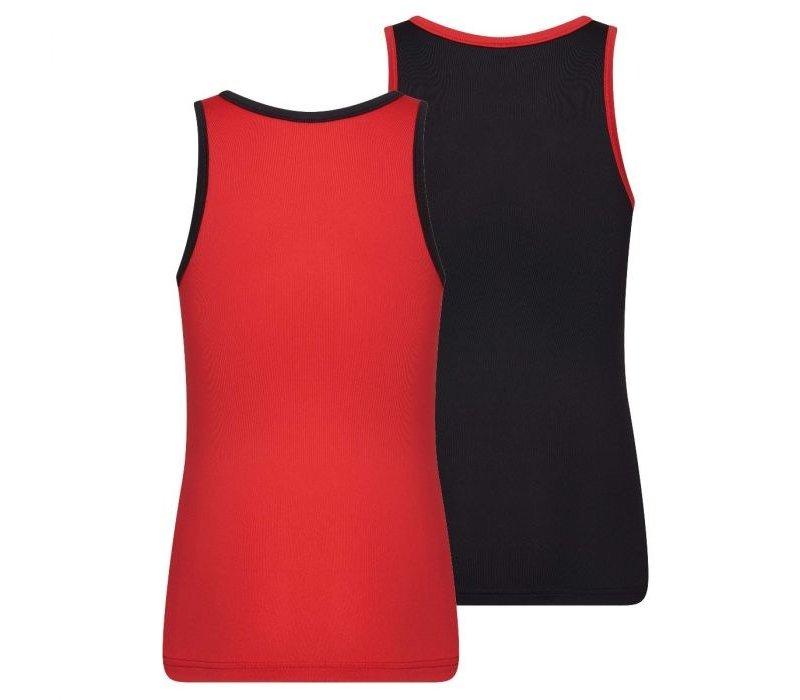 Meisjes Hemd 2-Pack rood/zwart