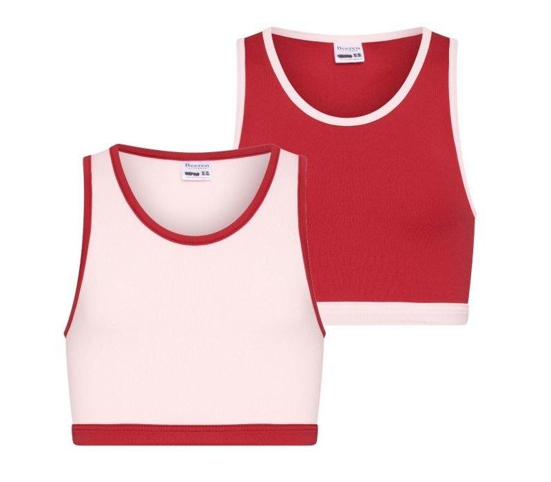 Meisjes hesje 2-Pack roze/rood