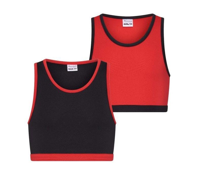 Meisjes hesje 2-Pack rood/zwart