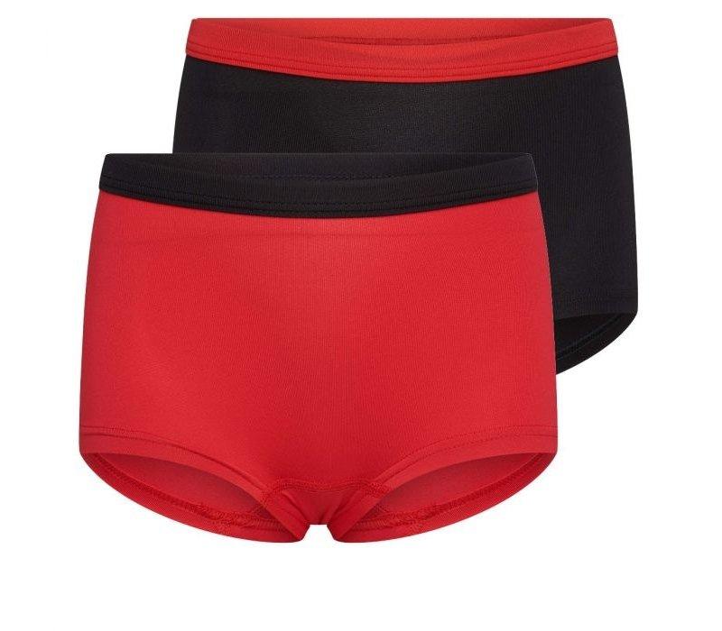 Meisjes boxer 2-pack rood/zwart
