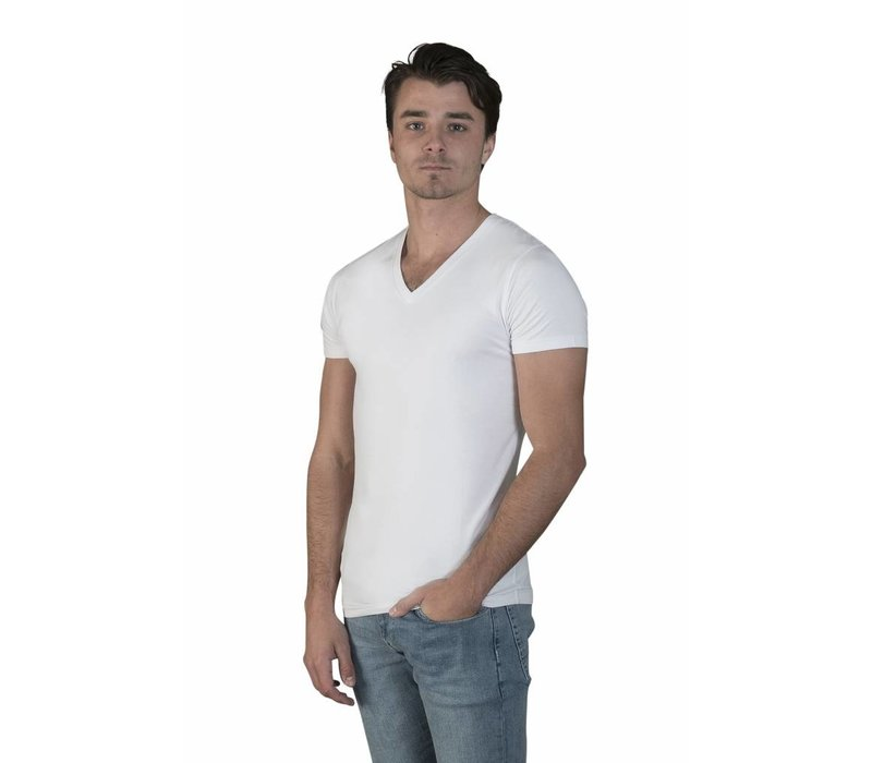 extra lange t-shirts 2-pack v-hals wit