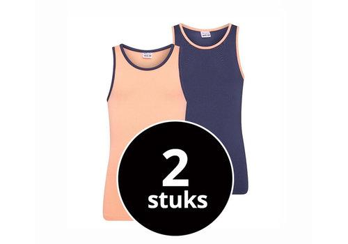 Beeren Meisjes Hemd 2-Pack Zalm/Donkerblauw