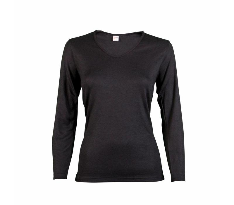 dames shirt thermo lange mouw zwart
