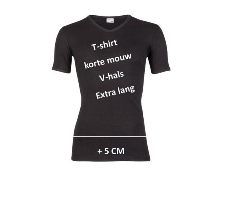 heren V-hals T-shirt extra lang M3000 zwart