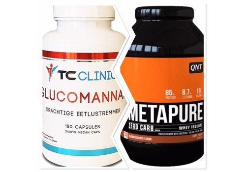 QNT en TC Clincs Combi deal Glucomannan fatburner en de QNT metapure shake