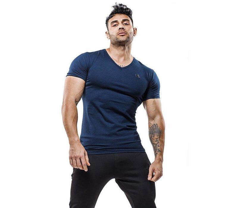 Aesthetix Era luxe v-neck bamboo t-shirt stainless logo blue