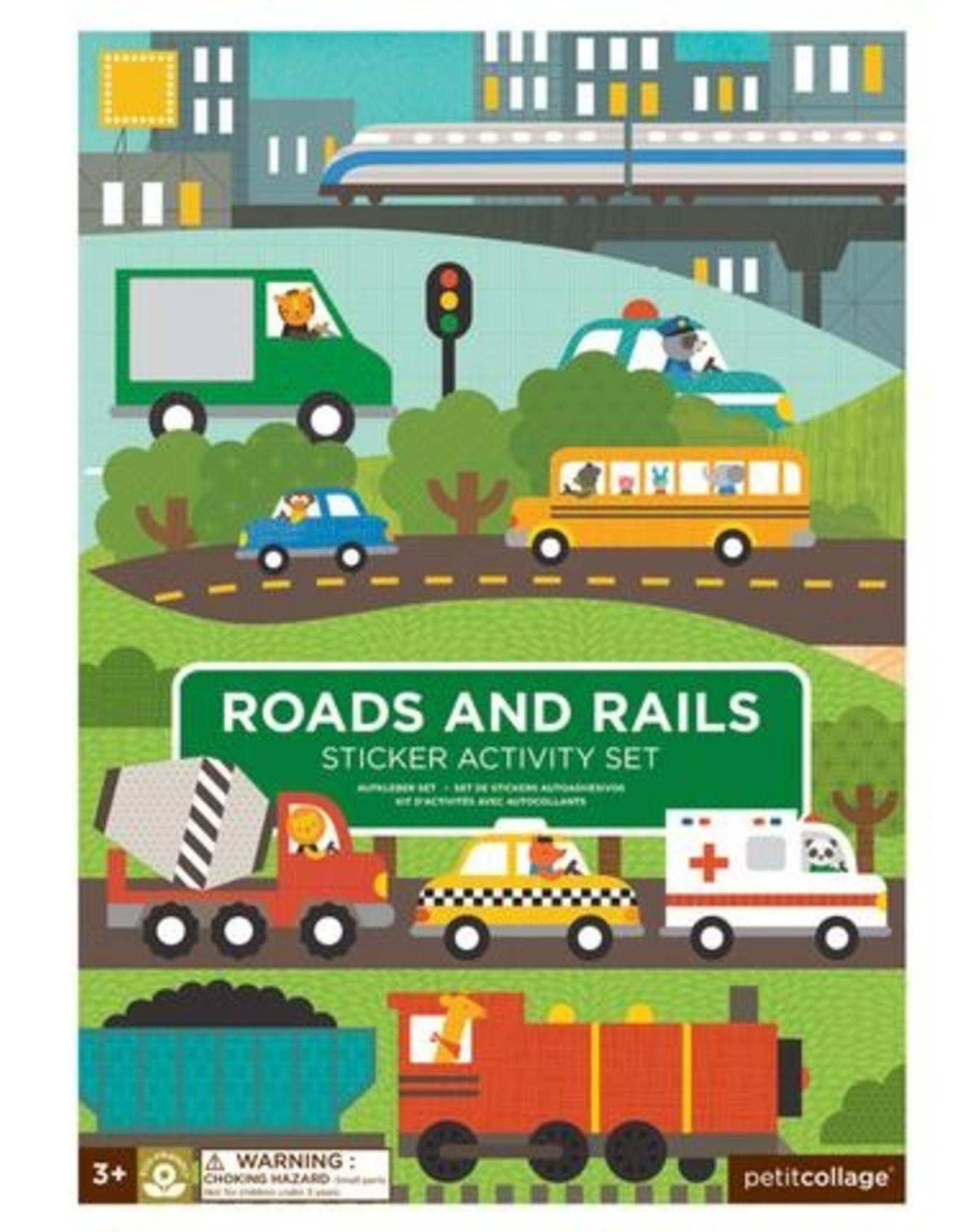 Petit Collage PTC183 Roads & Rails Sticker Activity Set