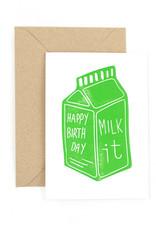 The Pear in Paper Letterpress -  Happy birthday - Milk it