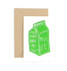 The Pear in Paper Letterpress -  Happy birthday - Milk it