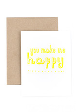 The Pear in Paper Letterpress - You make me happy