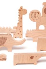Petit Collage Safari Jumble Wooden Puzzle + Play Set