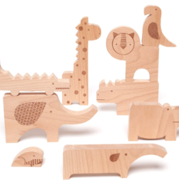 Petit Collage Safari Jumble Wooden Puzzle + Play Set