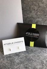 Angela O'Keefe AOK 7 Silver rectangle studs