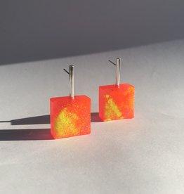 Angela O'Keefe AOK 16 Graffiti Block Earrings - Pink/Yellow/Orange