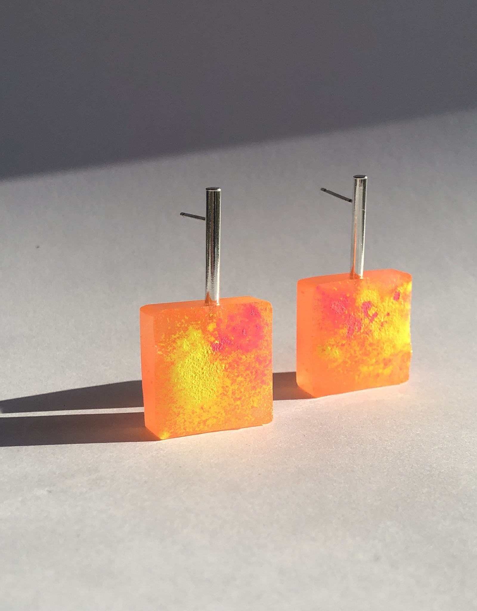 Angela O'Keefe AOK 17 Graffiti Block Earrings Orange/ Yellow Mix