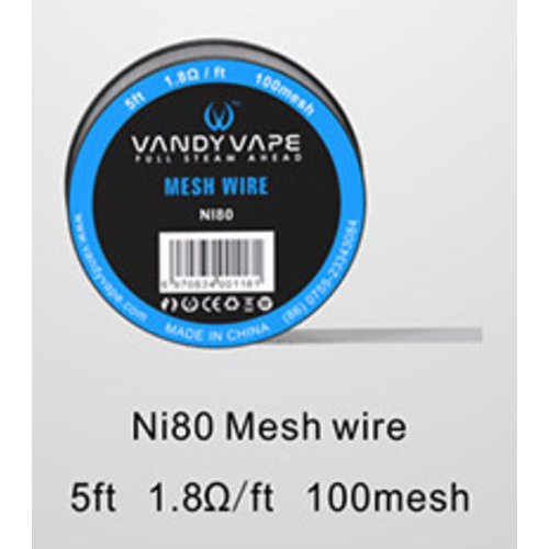 Vandyvape - Ni80 Mesh Wire 5ft 1.8Ohm/ft