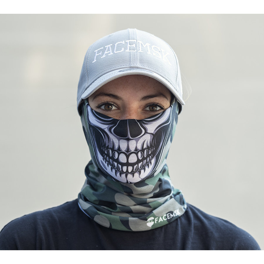Facemsk - green military camo master skull
