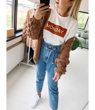 BROWN BUBBLE KNIT