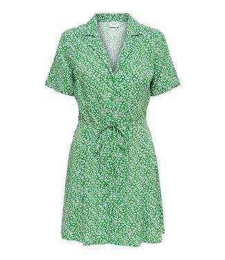 GREEN DITSY SHIRT DRESS