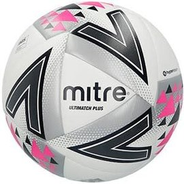 mitre Mitre Ultimatch Plus Size 5 Football, White/Black/Pink