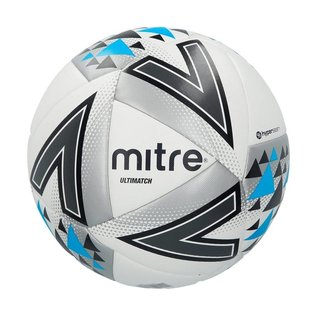 mitre Mitre Ultimatch Plus Size 5 Football, White/Silver/Black