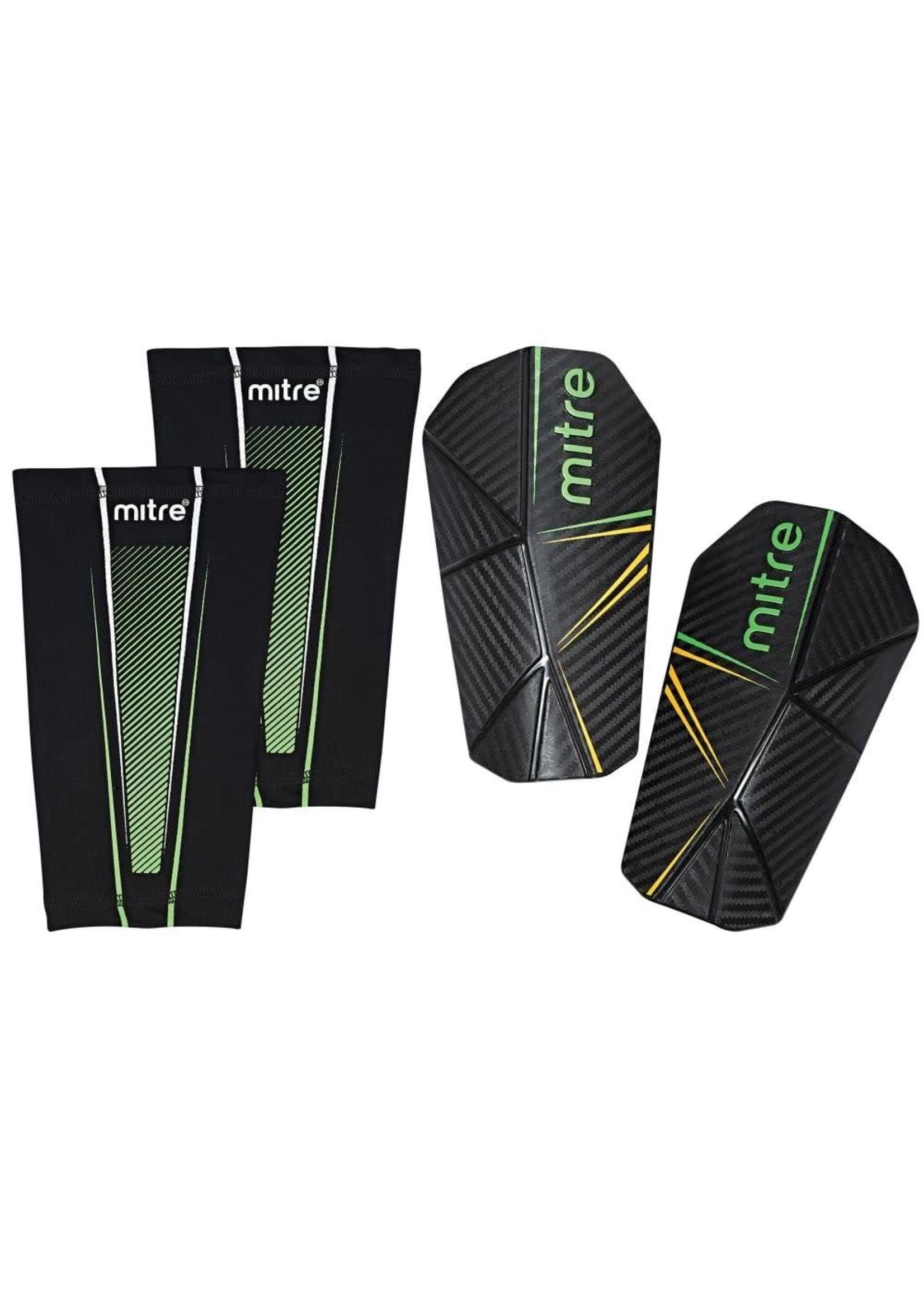 mitre Mitre Slip-In Shinguards, Black/Green/Yellow