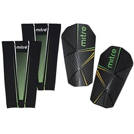 mitre Mitre Slip-In Shinguards, Black/Green/Yellow