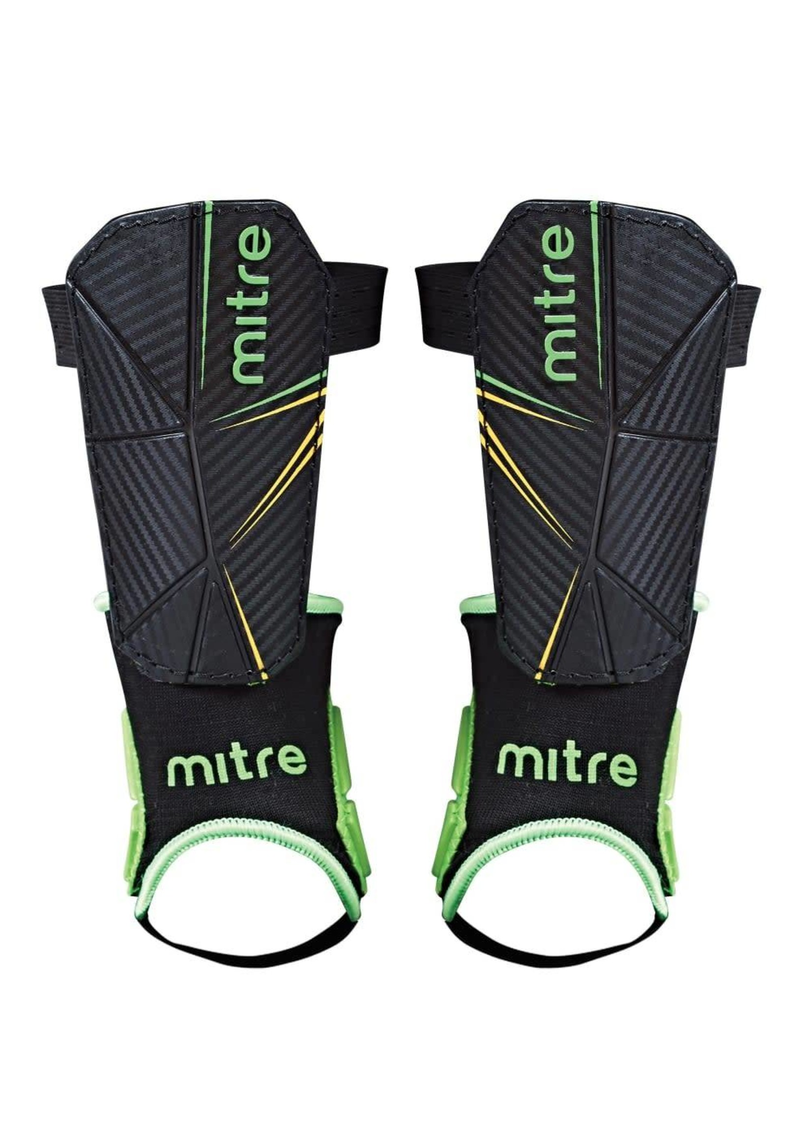 mitre Mitre Delta Ankle Protect Shinguards, Black/Green/Yellow