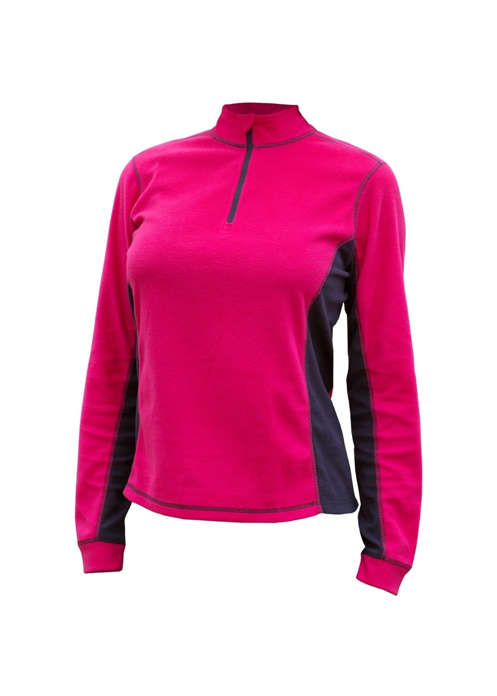 Catmandoo Sania Ladies 1/4 Zip Microfleece Midlayer, Pink/Navy
