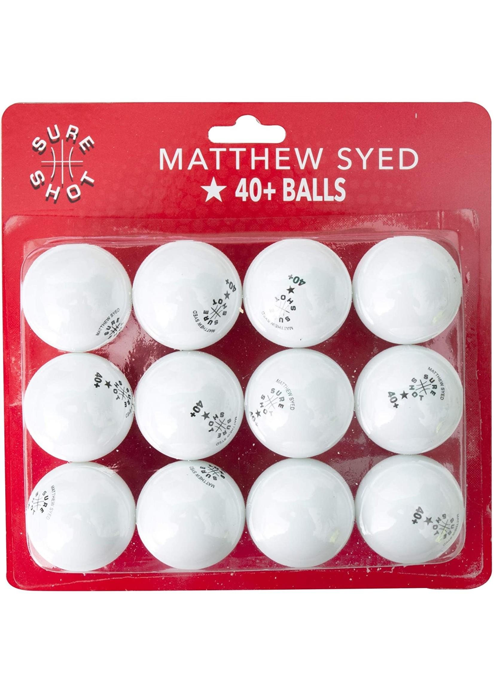 Matthew Syed Sure Shot 40+ TT Balls (Dozen)