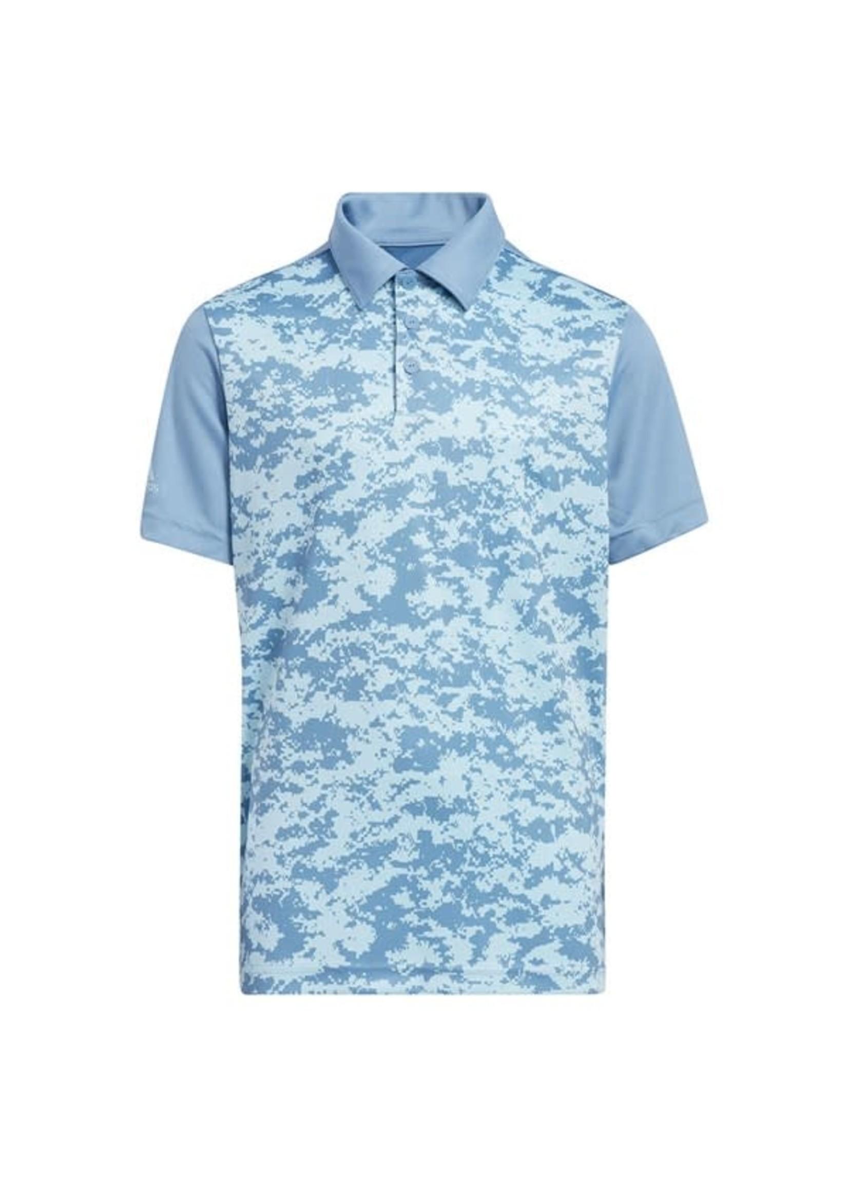 Adidas Adidas Junior Digital Camo Polo Shirt, Hazy Blue