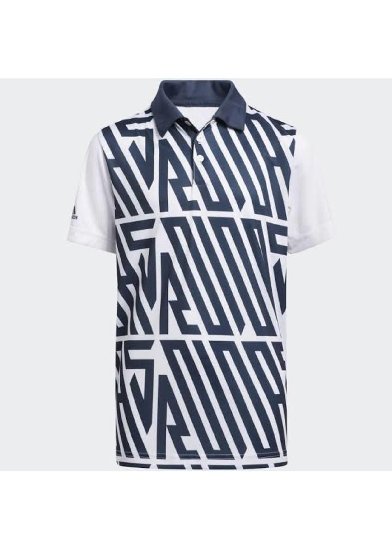 Adidas Adidas Junior Printed Golf Polo Shirt, Navy/White (2021)