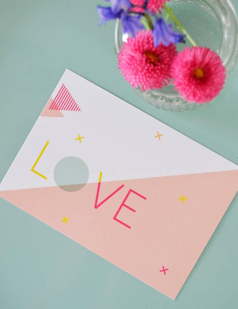 Wenskaart - Happy color - Love