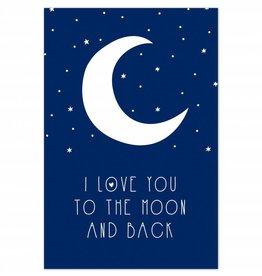 "Poster ""Moon"" blauw"