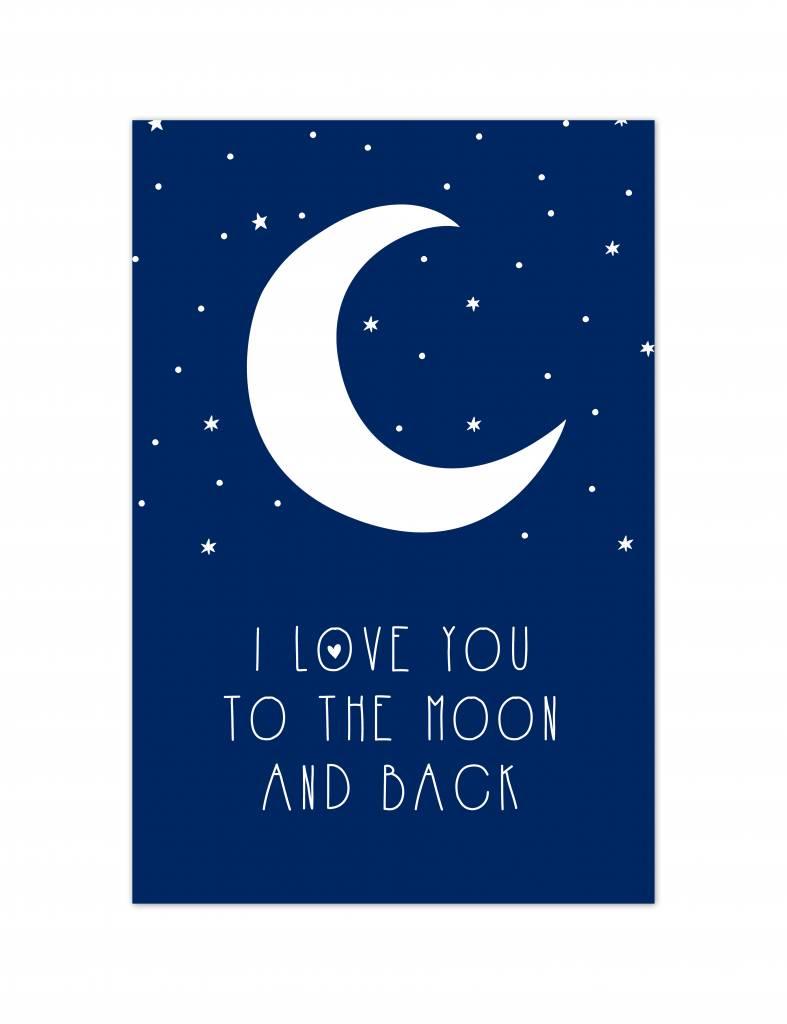 Poster - Moon - blauw