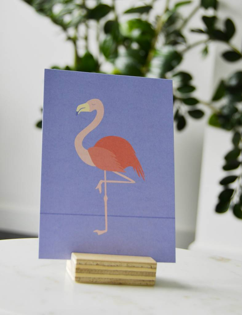 "Wenskaart Tropical-birds ""Flamingo"""