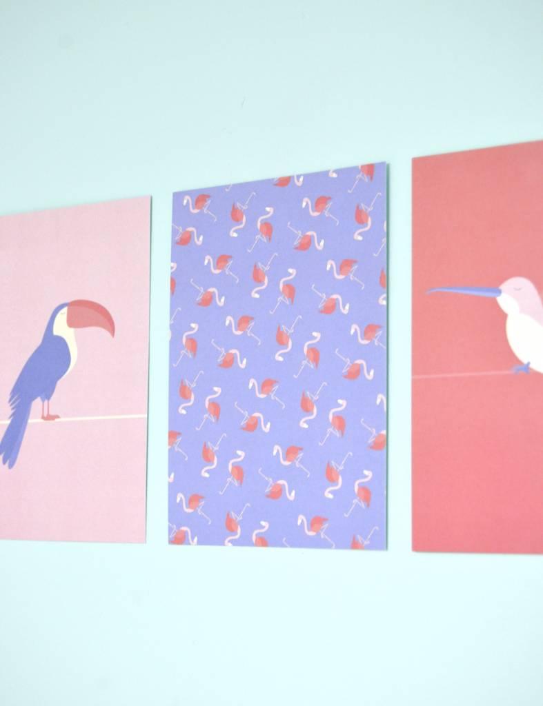 """Wenskaart Tropical-birds """"Flamingo-motief"""""""