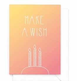 """Verjaardagskaart gradient """"Make a wish"""""""