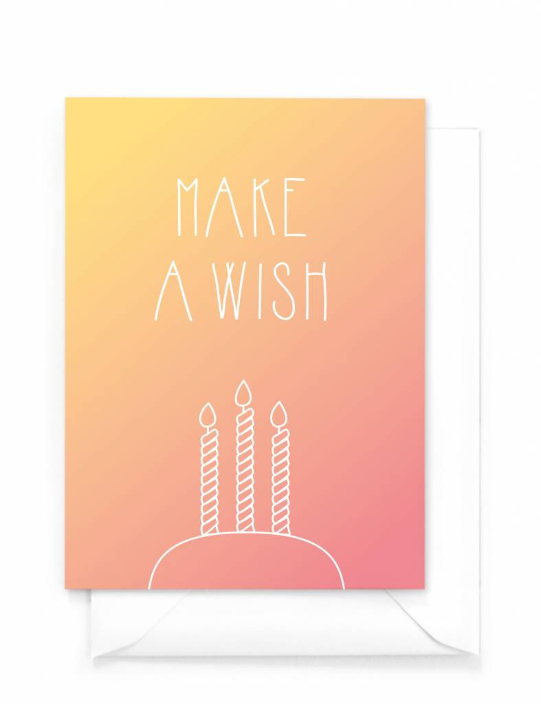 Verjaardagskaart - Gradient - Make a wish