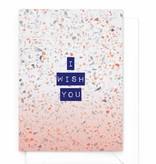 """Wenskaart/verjaardagskaart Marble """"I wish you"""""""