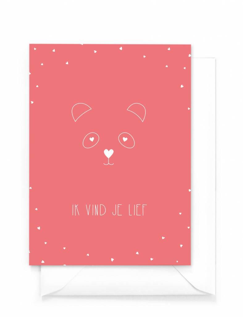 Wenskaart - Panda Love - Ik vind je lief