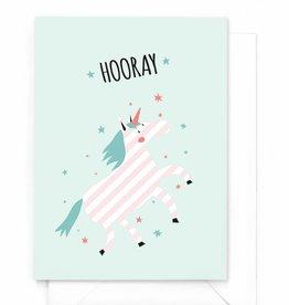 """Verjaardagskaart Eenhoorn """"Hooray"""""""