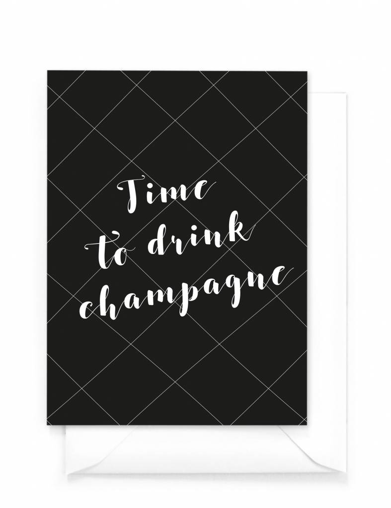 Wenskaart - Kerst - Time to drink champagne
