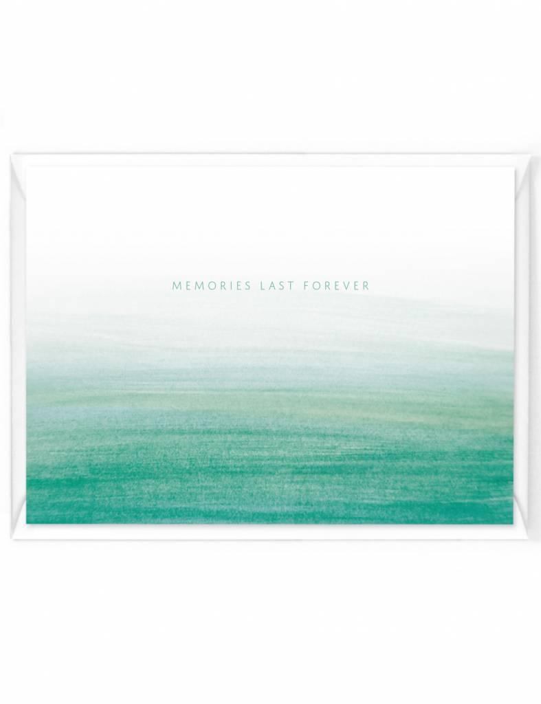 """Wenskaart Colorstripes """"Memories last forever"""""""