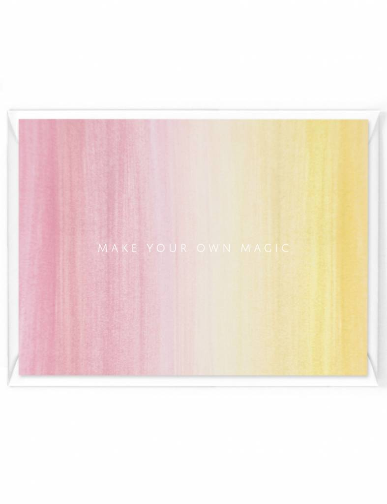 """Wenskaart Colorstripes """"Make your own magic"""""""