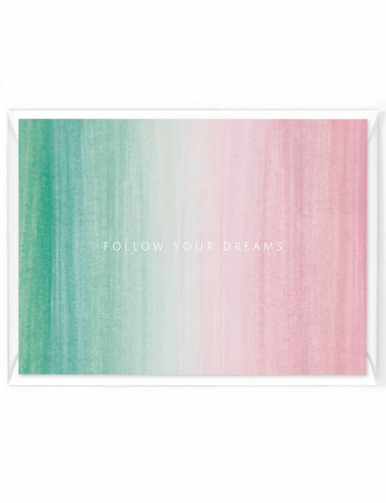 "Wenskaart Colorstripes ""Follow your dreams"""
