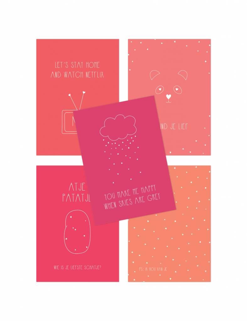 Lieve Valentijnskaarten 'Love' - set van 5