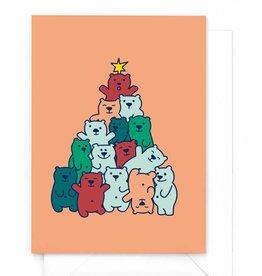 """Wenskaart Kerst """"Beren-kerstboom"""""""