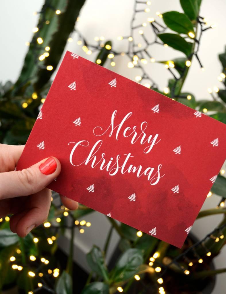 Wenskaart - Kerst - merry-christmas-aquarel